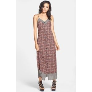 ASTR Button Front Maxi Slip Dress XS